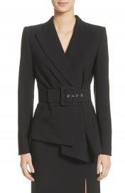 Michael Kors Belted Wool Blend Pebble Crepe Blazer at Nordstrom