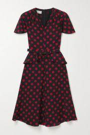 Michael Kors Collection - Belted polka-dot silk crepe de chine peplum dress at Net A Porter