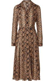 Michael Kors Collection - Belted snake-print silk-crepe midi dress at Net A Porter