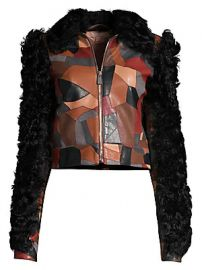 Michael Kors Collection - Cropped Patchwork Leather Shearling Jacket at Saks Fifth Avenue