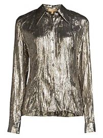 Michael Kors Collection - Crushed Metallic Silk-Blend Button-Down Shirt at Saks Fifth Avenue