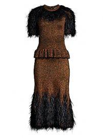 Michael Kors Collection - Feather-Embellished Metallic Peplum Dress at Saks Fifth Avenue