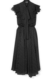 Michael Kors Collection   Ruffled polka-dot silk-georgette midi dress at Net A Porter