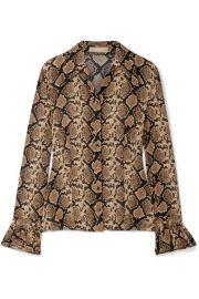 Michael Kors Collection - Snake-print crinkled silk-georgette blouse at Net A Porter