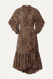 Michael Kors Collection - Wrap-effect leopard-print silk crepe de chine dress at Net A Porter