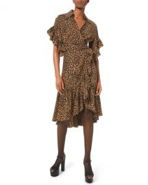 Michael Kors Collection Belted Leopard-Print Ruffle-Wrap Dress at Neiman Marcus