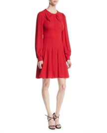 Michael Kors Collection Bow-Front Long-Sleeve Fit-and-Flare Silk Georgette Dress at Neiman Marcus