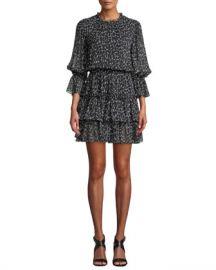 Michael Kors Collection Cheetah-Print Silk Chiffon Tiered Dance Dress at Neiman Marcus
