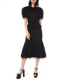Michael Kors Collection Feather-Trim Knit Cocktail Dress at Neiman Marcus