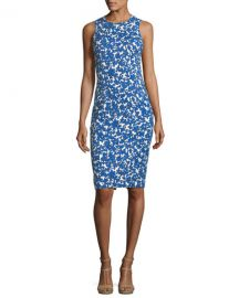 Michael Kors Collection Field Floral-Print Stretch-Matelass   Sheath at Neiman Marcus
