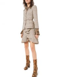 Michael Kors Collection Fitted Plaid Stretch-Wool Blazer at Neiman Marcus