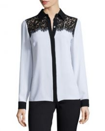 Michael Kors Collection Lace-Yoke Two-Tone Blouse White at Neiman Marcus