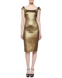 Michael Kors Collection Metallic Off-The-Shoulder Sheath Dress Gold at Neiman Marcus