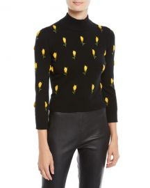 Michael Kors Collection Rose-Embroidered Cropped Cashmere Sweater at Neiman Marcus