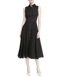 Michael Kors Collection Sleeveless Button-Front Fit-and-Flare Cotton at Neiman Marcus