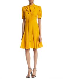 Michael Kors Collection Tie-Neck Short-Sleeve Fit-and-Flare Silk Dress at Neiman Marcus