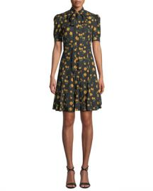 Michael Kors Collection Tie-Neck Short-Sleeve Rose-Print Georgette Day Dress at Neiman Marcus