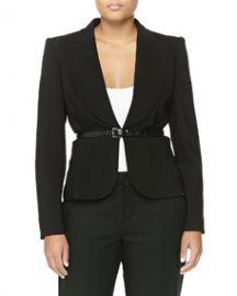 Michael Kors Crepe Short Wool Belted Jacket Black at Neiman Marcus