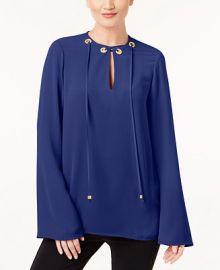 Michael Kors Embellished Grommet Tie-Neck Top   Reviews - Tops - Women - Macy s at Macys