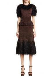 Michael Kors Feather Embellished Metallic Peplum Sweater Dress at Nordstrom