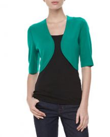 Michael Kors Featherweight Cashmere Shrug Emerald at Neiman Marcus