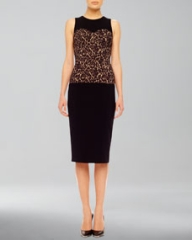 Michael Kors Floral-Center Fitted Dress at Neiman Marcus