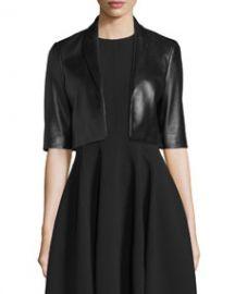 Michael Kors Half-Sleeve Cropped Leather Jacket  Black at Neiman Marcus
