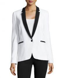 Michael Kors One-Button Tuxedo Jacket Optic White at Neiman Marcus
