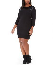 Michael Kors Plus Size Faux-Leather-Trim Sweater Dress   Reviews - Dresses - Plus Sizes - Macy s at Macys