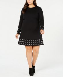 Michael Kors Plus Size Pont eacute -Knit Embellished Fit   Flare Dress   Reviews - Dresses - Plus Sizes - Macy s at Macys