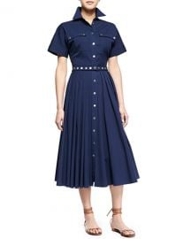 Michael Kors Utility Snap-Front Shirtdress Indigo at Neiman Marcus