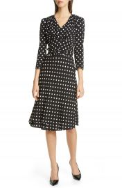 Michael Kors V-Neck Polka Dot Flared Dress   Nordstrom at Nordstrom