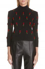 Michael Kors Velvet Rose Embroidered Cashmere Sweater at Nordstrom