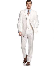 Michael Michael Kors Suit White Linen Vested at Macys