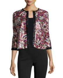 Michael Simon Paisley Sequined Cardigan at Neiman Marcus