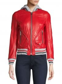 Michelle Hooded Leather Varsity Jacket at Saks Off Fifth Avenue