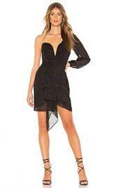 Michelle Mason Draped One Sleeve Mini Dress in Multidot from Revolve com at Revolve