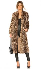 Michelle Mason Faux Fur Coat in Champagne Leopard from Revolve com at Revolve