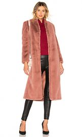 Michelle Mason Faux Fur Coat in Rose from Revolve com at Revolve