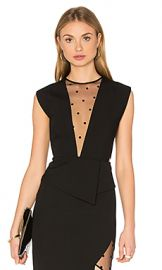 Michelle Mason Mesh Plunge Top in Black from Revolve com at Revolve