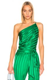 Michelle Mason One Shoulder Tie Top in Green   FWRD at Forward