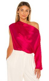 Michelle Mason One Sleeve Draped Top in Peony from Revolve com at Revolve