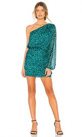 Michelle Mason One Sleeve Mini Dress in Teal Leopard from Revolve com at Revolve