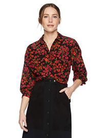 Micro-Floral Button Down Shirt with Front Pockets at Amazon