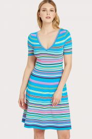 Micro Stripe Flared Dress at Milly