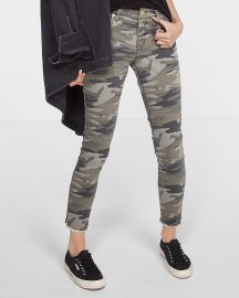 Mid Rise Camo Print Stretch Ankle Leggings at Express