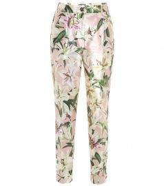 Mid-rise cropped floral satin pants at Mytheresa