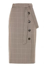 Midi Check Button Skirt at Topshop