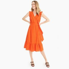 Midi wrap dress in Allover Eyelet at J.Crew