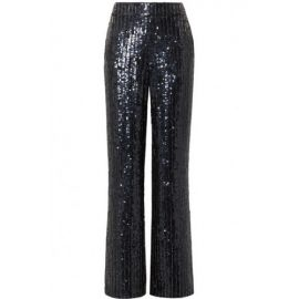 Midnight Blue Sequined Satin Wide Leg Pants by Alice + Olivia at Alice and Olivia